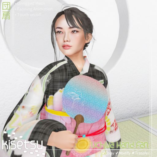 Japanese lady in kimono, holding Uchiwa against white background, item details included