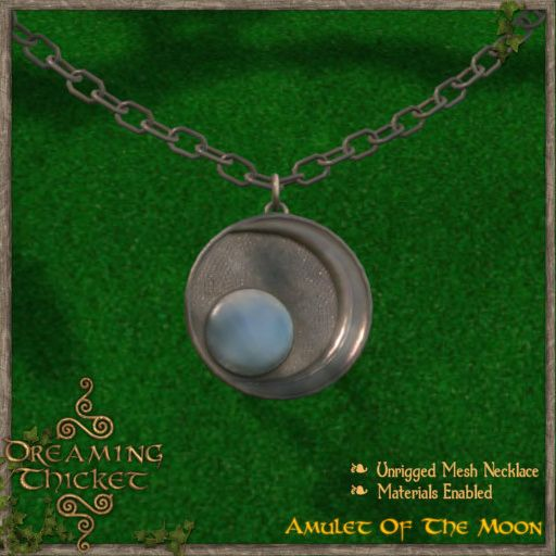 green background with moon amulet iron