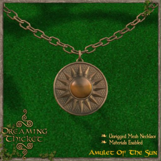 green background with sun amulet bronze