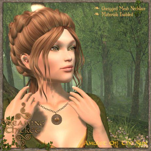 woman wearing bronze sun amulet