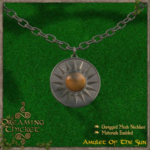 green background with sun amulet iron