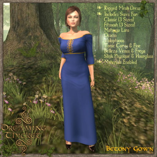 woods background, woman wearing blue gown