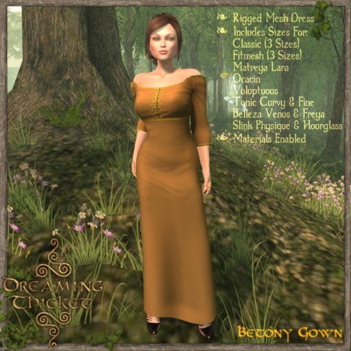 woods background, woman wearing goldenrod gown