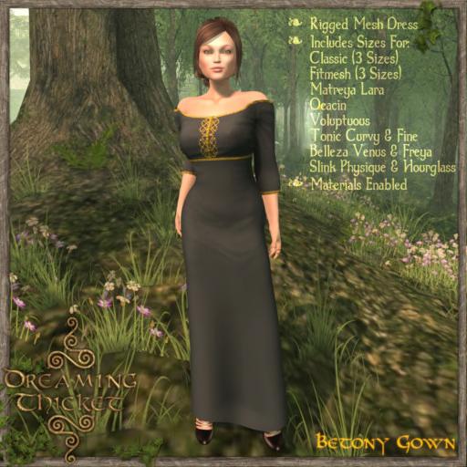 woods background, woman wearing dark gown