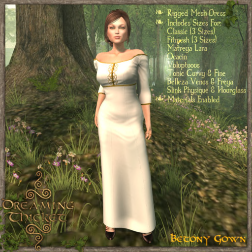 woods background, woman wearing white gown