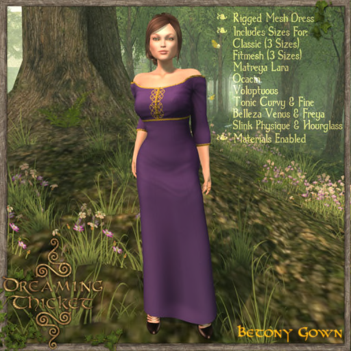 woods background, woman wearing violet gown